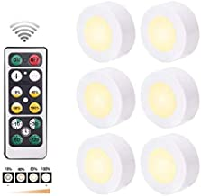 infinitoo Night Light with Remote Control Dimmable LED Puck Lights for Bedroom Kitchen (Warm White, 6 Packs)