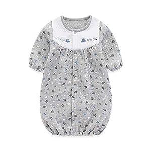 Bookabee ベビー服 ツーウェイオール 長袖ロンパース くまと星と車柄 前開き 新生児服 0-6ヶ月 BKB109H (グレー)
