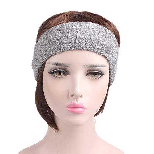 Qinlee - Cinta de pelo deportiva para hombre y mujer, unisex, para adultos, banda de algodón para el sudor, Gris