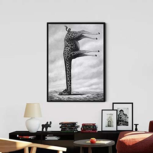 fdgdfgd Impresiones de Arte Animal Jirafa Divertida Abstracta en la decoración del Cartel de la Sala de Estar de la Pared