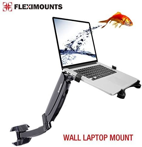 FLEXIMOUNTS M10 Laptop Wall Mount 2 in 1 LCD arm for Most 11-17.3 inch Laptop, Notebook Tray Included or 10-24 inch Computer LCDs,Swing Gas Spring Monitor arm for Dental Clinic
