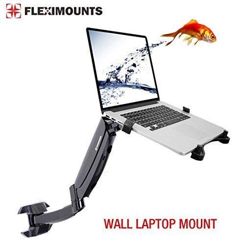 Fleximounts M10 Laptop Wall Mount 2 in 1 LCD arm for 11-17.3 inch Laptop, Notebook Tray Included or 10-24 inch Computer LCDs for Dental Clinic