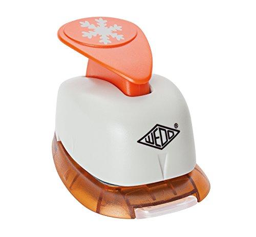 Wedo 168152 Motivlocher klein Schneeflocke (mit praktischem Auffangbehälter, Ausstanzung 1,7 x 1,7 cm) grau / orange
