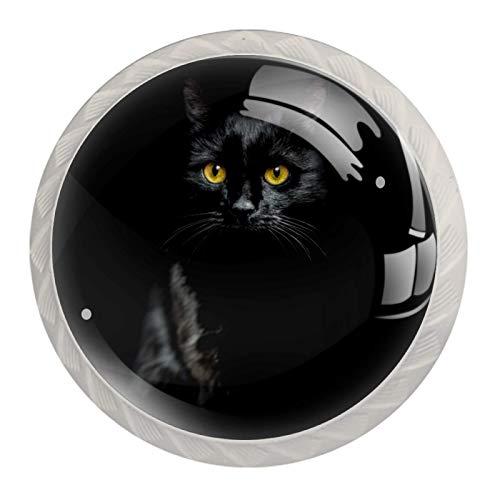 Perillas de Gabinete Redondas Ojos amarillos de gato negro Perillas de Cajón 35mm Tiradores de Muebles con Tornillo Perillas Manijas para Armario Cajón Aparador Cocina 4 Piezas