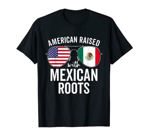 American Raised With Mexican Roots USA Mexico Flag T-Shirt