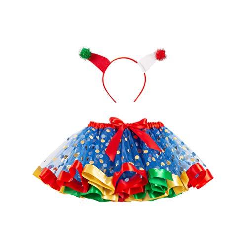 Holibanna Weihnachten Tutu Rock mit Pom Pom Stirnband Glitzer Mädchen Leistung Kostüm Tüll Mesh Kleid