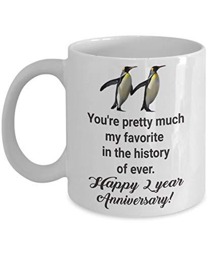 N\A Citas para Hombres, Esposo, 2 años, Segunda Taza de Dos Novios Favoritos, Taza de café de Aniversario de Girlfriend Her Women MenIdea