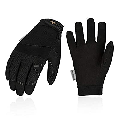 Vgo 3Pairs 32? or Above 3M Thinsulate C40 Lined Winter Warm Synthetic Leather Gloves(Size M,Black,SL8270F)