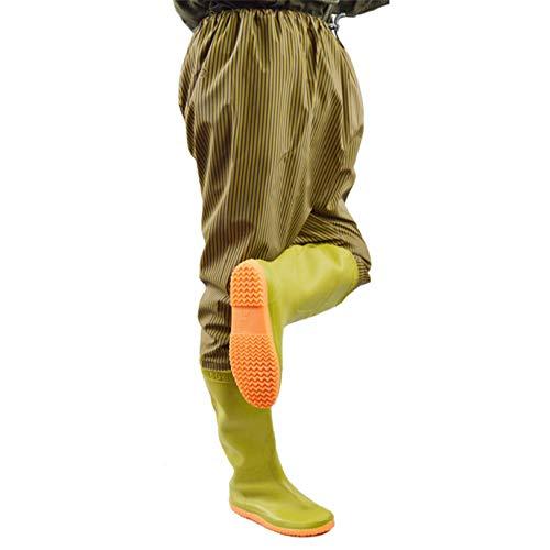 Cuissardes Nylon Respirant Bottes Chasse Imperméables PVC Genouillères, Taille 41-45 Pantalon D'étang Pêcheur Bottes Caoutchouc Bottes Pêcheur À La Ligne Pantalon Wading Antidérapant,Beige,37 EU