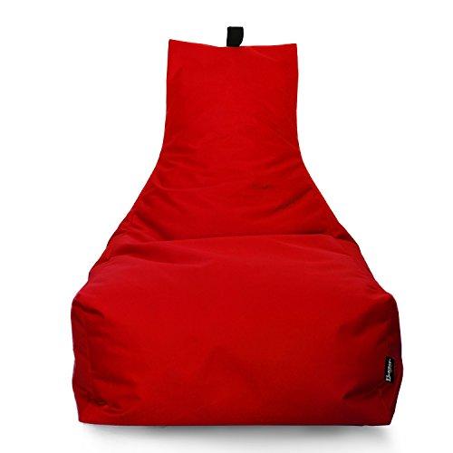 Lounge Sitzsack Liege Beanbag 32 Farben wählbar 90cm(Ø) Rückenlehne Bodenkissen Indoor Outdoor Sitzsäcke Gaming Kinder Bean Bag Erwachsene Riesensitzsack gefüllter Sessel(Rot)