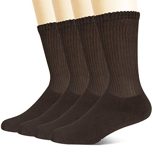 +MD Calcetines diabéticos de viscosa no vinculantes para hombres, paquete de 4 calcetines circulares con amortiguación completa Café EU43-46