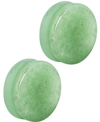 Forbidden Body Jewelry Set of 1 Inch Semi-Precious Jade Ear Gauges, 25mm Solid Gemstone Double Flared Saddle Plug Earrings