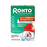 Rohto Cool Max Maximum Redness Relief Cooling Eye Drops, 0.4 Fl Oz (Pack of 3)