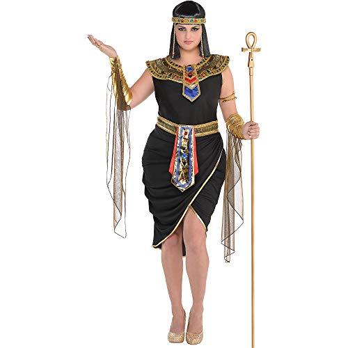 amscan 847818-55 Egyptian Queen Costume with Headpiece for Adults-Plus Size 18-20-1 PC Ägyptische Königin Kostüm mit Kopfbedeckung für Erwachsene – Übergröße 46-48, 1 Stück, Nicht einfarbig, UK 18-20