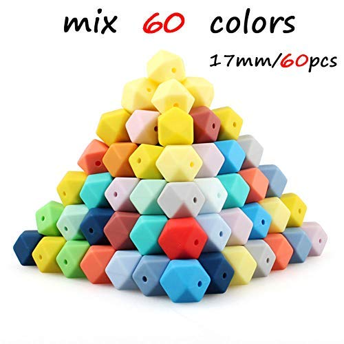 60pcs 17mm Mix Colors Hexagon Silicone Beads 62Colors Food Grade Baby Teething Beads DIY Jewelry Necklace Maker BPA Free