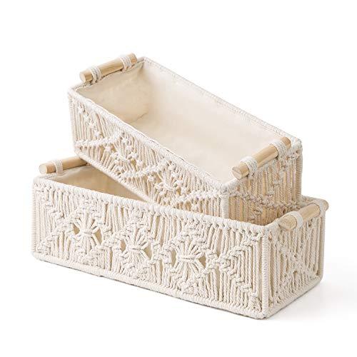 Mkono Macrame Storage Baskets Decor Box Handmade Woven Decorative Countertop Toilet Tank Shelf Cabinet Organizer Boho Decor for Bedroom Nursery Livingroom, Set of 2