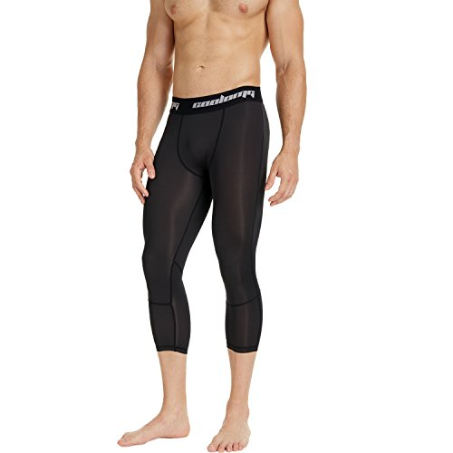COOLOMG Kompressionshose Laufhose 3/4 Fitness & Training Funktionswäsche Hose Schnell trocknend für Kinder Schwarz XXS