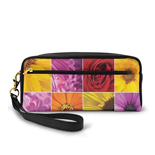 Pencil Case Pen Bag Pouch Stationary,Chrysanthemum Rose Sunflower Violet Colorful Flowers Romance Bridal Plants,Small Makeup Bag Coin Purse