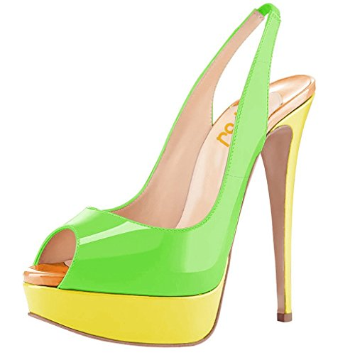 FSJ Women Awesome Platform Peep Toe Pumps Slingback High Heel Stilettos Prom Shoes Size 15 Green-Yellow