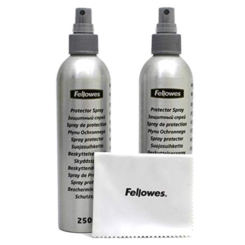 Fellowes 500ml Anti-Static Streak/Smear Free Universal Technology Surface & Screen Cleaner + Microfibre Cloth for TV/Laptop/Tablet/Monitor/eReader (2 Bottles & Micro Fibre Cloth)