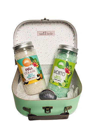Cocktail Scented Bath Salts Salt & Lip Gloss Hamper Suitcase Case Small Womens Women Gift Set 20 x 15 x 8cm