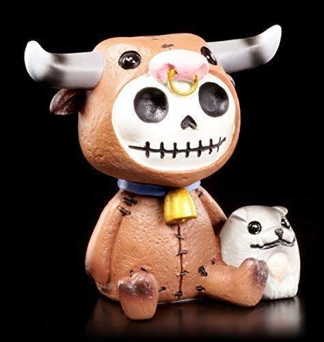 Furrybones Figur | Stier Bull mit kleinem Hund | inkl. Geschenkbox für Sammler | Lustige Deko Totenkopf Gesicht
