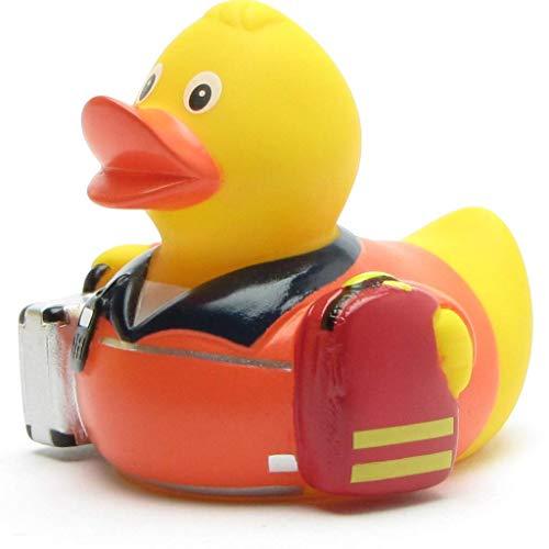 Duckshop I Rettungssanitäter Badeente I Quietscheentchen I Quietscheente - L: 8 cm I inkl. Badeenten-Schlüsselanhänger im Set