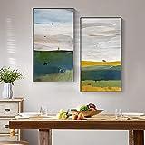 VUSMH Pintura de Lienzo de Paisaje Minimalista Arte Mural Abstracto Cuadro al óleo Colorida Cuadros Impresiones Pasillo del hogar Decoración Mural Imagen 40x80cmx2 Sin Marco