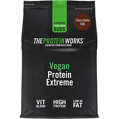 THE PROTEIN WORKS Vegan Extreme Protein Powder | 100% Plant-Based | Added Vitamins & Minerals | Low Fat Shake | THE PROTEIN WORKS | Chocolate Silk | 1 kg