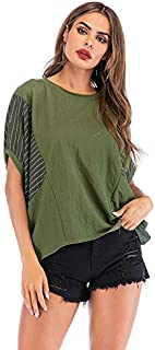 T-Shirt Striped T-Shirt with Bat Sleeves and Striped Crew Neck Loose-Fitting Top T-Shirt (Color : Green, Size : S)