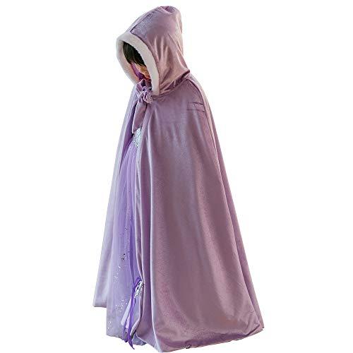 Kostüm für Mädchen, Prinzessin Elsa, Umang, Mantel für Halloween, Party, Cosplay, Winter, aus Samt, mit Kapuze, lang Gr. Large, violett