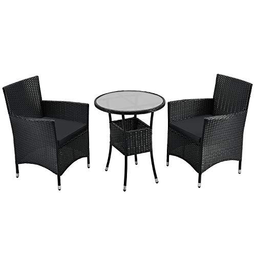ArtLife Polyrattan Balkon Set Bayamo 2 Personen – Tisch mit Glasplatte & 2 Stühlen – Wetterfeste Balkonmöbel – Auflagen waschbar – schwarz - grau
