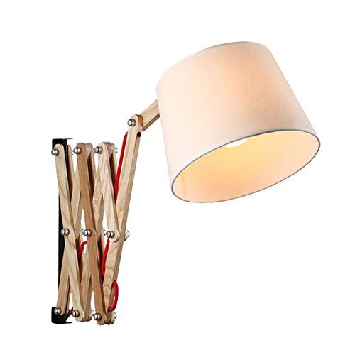 Retro Vintage Stoffschirm Wandleuchte mit Schalter Ausziehbar Verstellbar Holz Wandlampe Nachttischlampe Leseleuchte Scherenlampe Wohnzimmer Schlafzimmer Innen Dekoration Beleuchtung