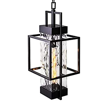 MOTINI 1-Light Outdoor Pendant Light Fixtures Industrial Style Large Single Outdoor Hanging Light in Oil Rubbed Bronze Finish with Water Glass Shade 26.5x10x10 Inch  Bulb Included