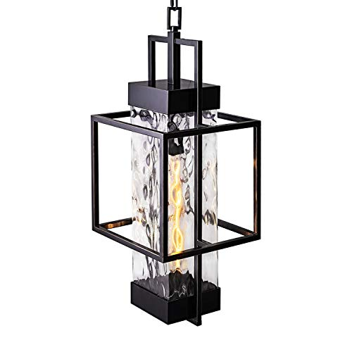 MOTINI 1-Light Outdoor Pendant Light Fixtures Industrial Style Large Single Outdoor Hanging Light in Oil Rubbed Bronze Finish with Water Glass Shade 26.5x10x10 Inch (Bulb Included)