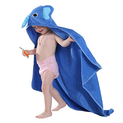 MICHLEY Niños Encapuchado Bebé Toalla de baño Animal Sin mangas Algodón Albornoz Para Niños Niñas 0-6 Años(Azul)