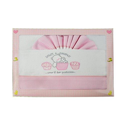 Pekitas: set di lenzuola 3pezzi in flanella per culla 60x 120cm, 100% cotone, prodotto in Portogallo. Rosa-Bianco