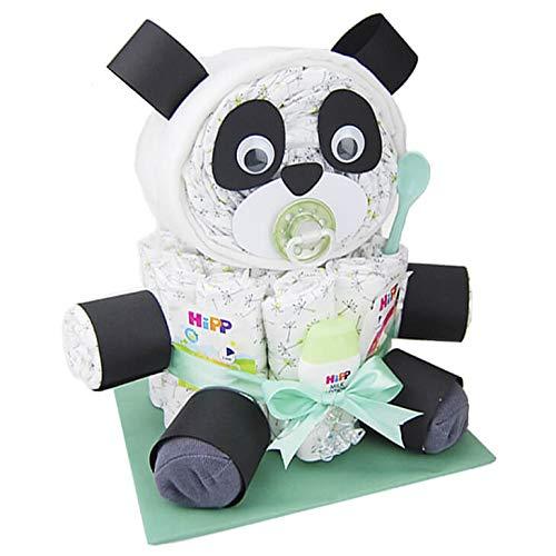 Windeltorte.com – Windelpanda Neutral| Windeltorte Panda in Grün - inkl. 32 LILLYDOO Windeln | Geschenk zur Geburt | Taufgeschenk | Geschenk zur Babyparty – Handgefertigte Windeltorte