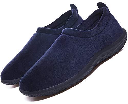 Zapatillas de Invierno Mujer Hombre Pantuflas de algodón con Memoria Zapatillas de Estar Al Aire Libre Forro cálido Pantuflas Mocasín Estilo,Azul,43 EU
