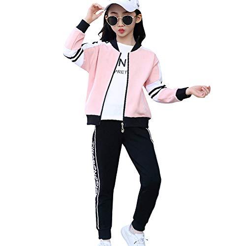 YFPICO Kinder Mädchen Jogginganzug Sportswear 3-teiliges Sportset Jacke Sporthose Sweatshirt Bottom Jogging Suit, Rosa, 134/140
