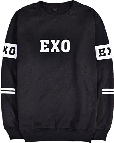SERAFY Unisex EXO Felpe K-Pop Pullover Girocollo Maglione Sehun Kris Suho Baekhyun Lay Chanyeol Luhan Xiumin D.O Kai Tao Chen Nero-4 M