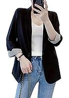 DeBangNiテーラードジャケット レディース 7分袖 スリム 着やせ スーツジャケット 一つのボタン ジャンパー 入園式 女子会ブラックT2