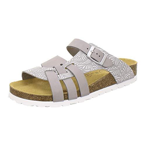 AFS-Schuhe 2122 Damen Pantoletten aus echtem Leder, hochwertige Hausschuhe für Frauen mit Eva-Sohle, Made in Germany (39 EU, grau)