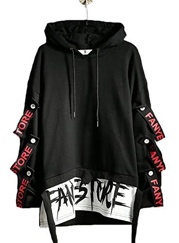 Hello MrLin Herren Techwear Japanischer Harajuku Kapuzenpullover Hip Hop Streetwear Urban Hoodie