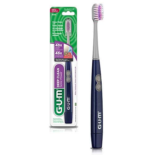 Escova Dental a bateria Sonic Deep Clean GUM, vibração sônica + 1 refil, Gum, Sortidas