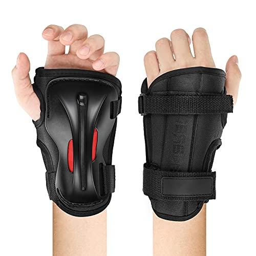 LINGSFIRE Handgelenkschoner 1 Paar Inliner Handgelenkschützer für Kinder und Erwachsene Skate Handschutz Skateboard Protektoren, Skihandschuhe, Verlängerte Handgelenk Palmenschutz Einstellbare (M)