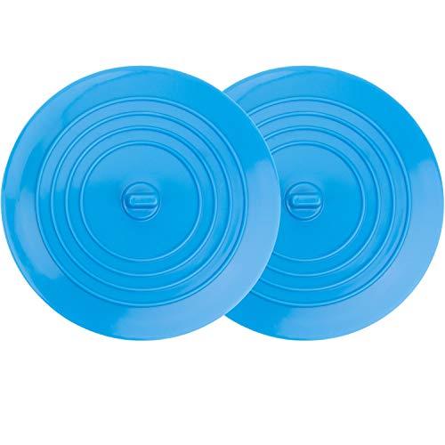 Universal Stöpsel für Spülbecken und Waschbecken, 2 Pack, Ø 15 cm, für alle Abflüsse bis 120 mm, aus Silikon, perfekt für Küche und Bad, nicht schmutz-anfälliger Abfluss-Stöpsel, Ablaufstöpsel blau