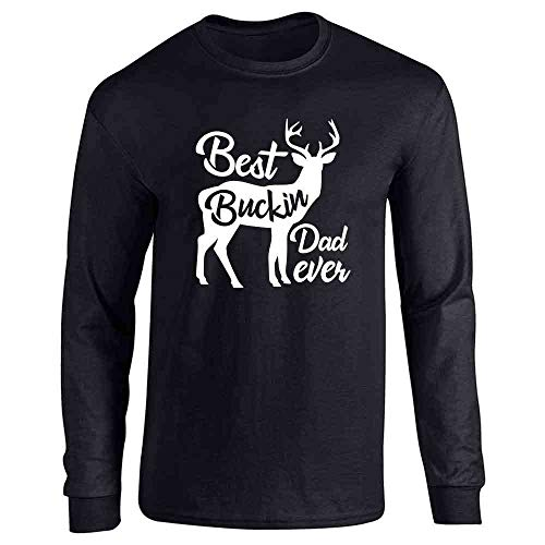 Pop Threads Best Buckin Dad Ever Gift for Dad Black 2XL Full Long Sleeve Tee T-Shirt