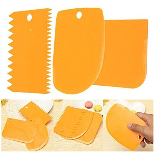 Teigschaber mit Griff 3PCs / Set Teig Cutter Kuchen Brotschneidemaschine Backen Pasty Werkzeuge Schaber Kuchen Blatt Silikon-Spachtel Für Kuchen Patisserie, Grün,