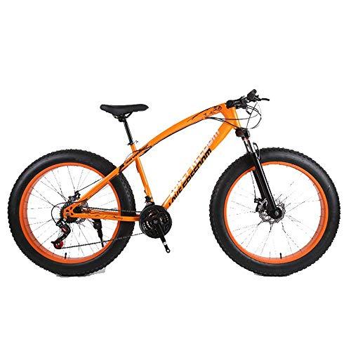 LIUJIE 18 Fat Bike, Mountainbike Cross-Country 26 Zoll 27 Geschwindigkeiten Verschneite Berg 4.0 Big Reifen Adult Außenreit Stoßdämpfendes Mountainbike,Orange